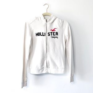 Hollister White Fur Lined Zip Hoodie